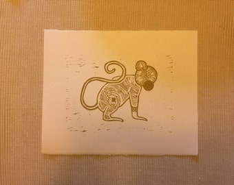 Monkey Lino cut