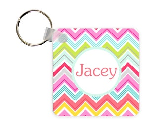 Colorful Chevron Personalized Square, Round or Rectangle Key Chain