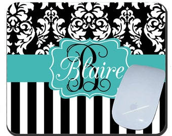 Dandy Damask Stripe Personalized Mouse Pad Custom Mousepad, Damask Custom Monogrammed Mouse Pad Office Gift Birthday Gift, Personalized Gift