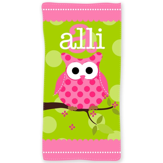 Personalized Beach Towel For Toddler: Owl Personalized Kids Beach Towel Kids Beach Towel