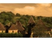 "Fine Art Sepia Landscape Photography of France - ""The Village of Castelnau Bretenoux"""