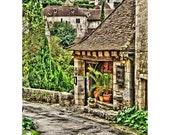 Fine Art Digital Print on Watercolor Paper of Hotel Pelissaria in St Cirq Lapopie