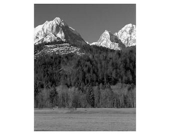 "Fine Art Black & White Landscape Photography of Bavarian Alps - ""Peaks Near Schwangau"""