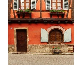 Fine Art Color Travel Photography of Orange Home in Niedermorschwihr France