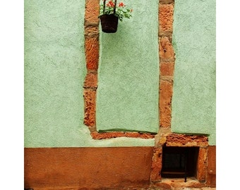 Fine Art Color Travel Photography of Green Wall and Hanging Basket of Flowers in Alsace France