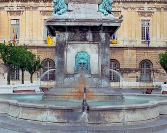 """Fine Art Color Photography of Provence France - """"Fountain in Arles"""" Square Print"""