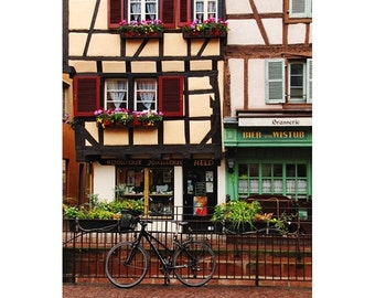 Fine Art Color Travel Photography of Bicycle and Shops in Colmar France