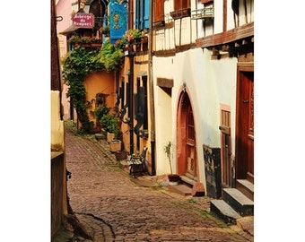 Fine Art Color Travel Photography of Peaceful Lane in Eguisheim France