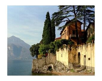 "Fine Art Color Landscape Photography of Lake Como Italy - ""Wall Beside the Lake"" (Horizontal)"