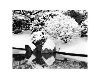 "Fine Art Black & White Nature Photography of ""Fresh Snow and Reflections in a Japanese Garden #1"""