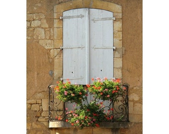 Fine Art Color Architecture Photography of Pale Blue Shutters and Balcony With Flowers in Domme France