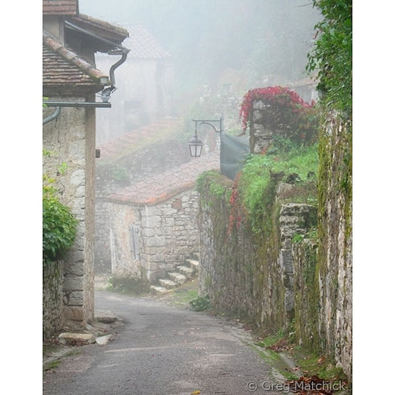 """Fine Art Color Travel Photography of French Village - """"Foggy Lane in St Cirq"""""""