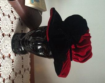 Floppy Velvet Hat Brimmed Two Tone Velvet Hat Miss Mary Label of New York Maroon and Black Velvet Harlequin Medieval Renaissance Look