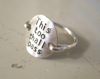 Sterling silver Ring stamped monogram jewelry, this too shall pass, inspirational ring