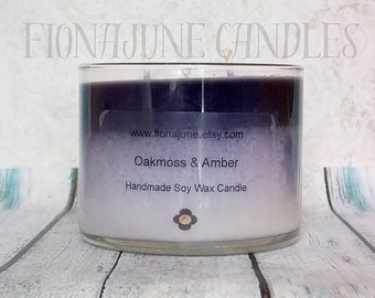 Oakmoss & Amber Scented Vegan Double Wick Layer Soy Candle, Black and White Layered Soy Wax Jar Candle, 12 oz cylinder candle