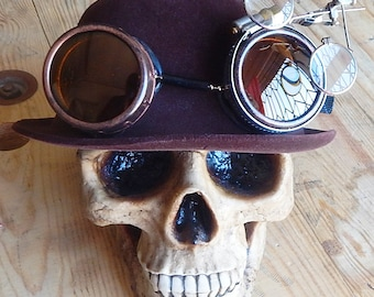 Burgundy Wine Steampunk DERBY Bowler HAT with Matching Distressed-Look Copper Colored GOGGLES and Eye Loops