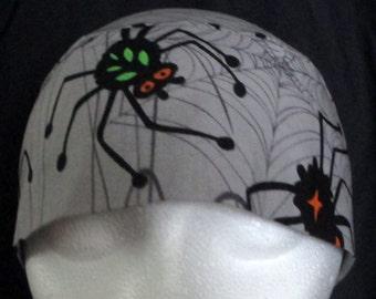 Gray w Spiders Chemo Cap, Webs, Colored Spiders, Skull Cap, Bald, Hair Loss, Halloween, Do Rag, Head Wrap, Hat, Bandanna, Handmade, Alopecia