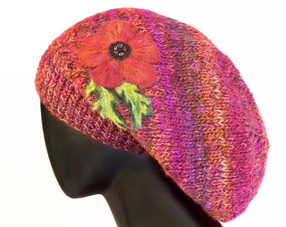 Poppy Red Slouch Hat - Red Poppies Slouchy Hat with Poppy Flower Design - Elegant Winter Hat in Deep Red - Perfect Christmas Gift for Her