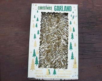 Vintage Lovely Metal Gold Christmas Garland in Original Package Made by Dwarfs of the Black Forest
