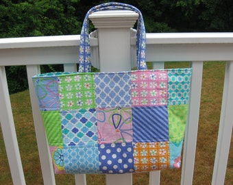 Bright and Cheerful Quilted Tote Bag/Aqua lining