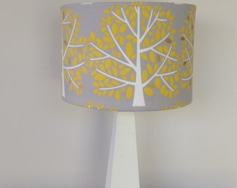 Grey Linen Lamp Shade with Yellow Trees