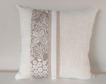 Cushion Cover: Linen, White and Beige