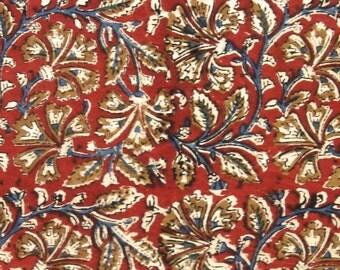 Cotton Fabric Print - Blue and Ochre Floral Pattern on Red Kalamkari Print 1 Yard - ctjp185