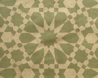 hand printed cotton silk fabric in green and gold - 1 yard msc074