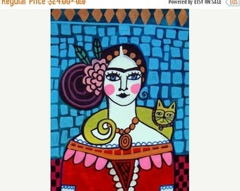 Marked Down 50% - Mexican Folk Art Cat Folk Art Frida Kahlo art Poster of Painting  Print Heather Galler