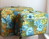 1960s 2 Piece Soft Floral Suitcase Set, Boho Flowers Luggage, Avocado Green Turquoise Blue Flowers, Retro Travel Case, Bohemian Traveler