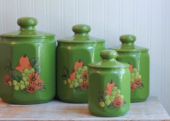 green canister sets kitchen green kromex canister set with fruit full set of 4 canisters 6503