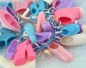 Kawaii Charm Bracelet Shoe Mad Barbie Accessory Toy Box Plastic Girl Cyberpop Pink Purple and Blue Toybox Fairy Kei Uchuu Crystal swarovski