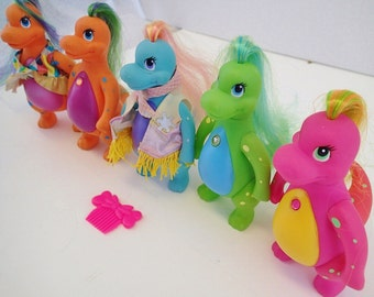 Darlin Dinos Snazzies Lot 5 Posable Darling Dinosaurs Figurines Action Figure Dolls Brushable Hair Pastel Neon 90s 80s Retro Toys Vintage