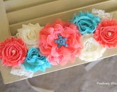Maternity Sash, Beach Wedding Sash, Starfish Maternity Sash, Beach Maternity Sash, Gender Reveal Sash, Coral Aqua Royal Ivory, RTS, SALE