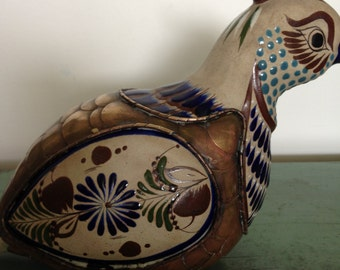 Gorgeous  Mexican handcraft  Brass And Ceramic Enamel tufted bird Dove