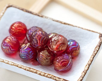 Vintage Czech Beads Red Etched Textured AB Round Glass Beads 15mm