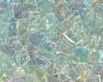 "100 1/2"" Clear Iridescent Riverwater Stained Glass Mosaic Tiles"