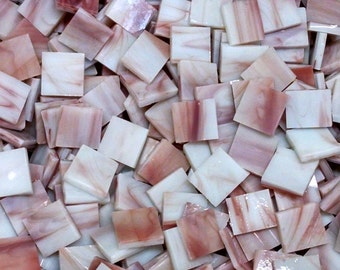 """100 1/2"""" Maroon Red and White Stained Glass Mosaic Tiles"""