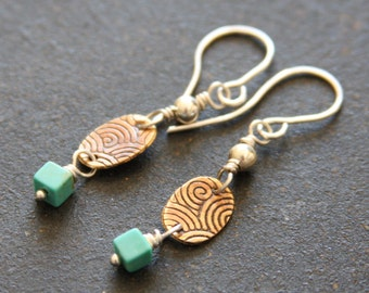 Turquoise Mixed Metal Dangle Earrings // Southwest Turquoise, Copper, and Sterling Earrings