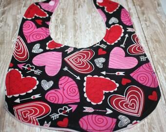 Baby Bib- Valentine Hearts Bib- Baby Boy or Baby Girl, Valentines Day Bib, 1st Valentines Bib, Baby Bibs, Minky Bib