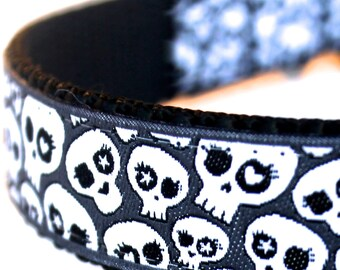 Skulls in Black Dog Collar, Rockstar Pet Collar, Adjustable Ribbon Dog Collar, Sugar Skulls