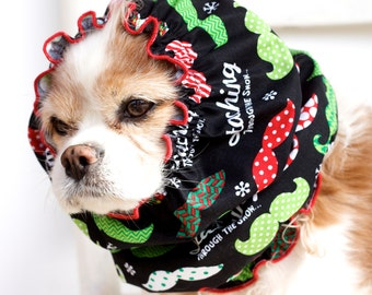 Staching Through The Snow Dog Snood, Christmas Pet Snood, Holiday, Mustache