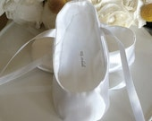 White Satin Ballet Slippers - Baby Girl Shoes, Toddler Girl - Flower Girl Shoes - Christening Shoes
