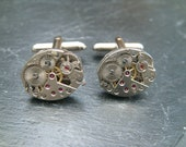 Steampunk cufflinks with genuine 17 Jewel rone watch movements, ideal birthday, graduation or anniversary gift