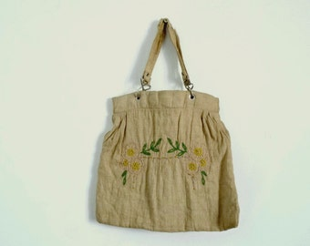 Antique Purse 20s/30s Vintage Handbag Beige Hessian and Cotton Flower Embroidered