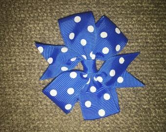 Blue and white polkadot punwheel pig tail (set of 2)