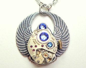 Blue Crystal Steampunk Scarab Necklace, Unisex Necklace, Edwardian Fantasy, Dark Metal Noir,Gothic Jewelry,Topaz Blue, Cosplay Jewelry