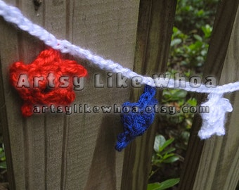 Fourth of July Star Garland - Crocheted Decor - Red White and Blue - Patriotic - Decorative Garland CLEARANCE