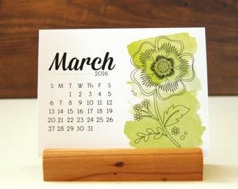 2016 Desk Calendar - Watercolor Floral