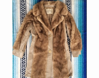Jorgensen Fur and leather long womens coat - size S/M